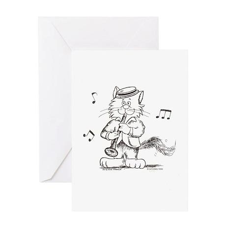 Catoons clarinet cat Greeting Card