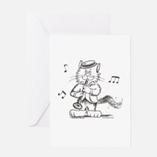 Catoons clarinet cat Greeting Card