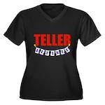 Retired Teller Women's Plus Size V-Neck Dark T-Shi