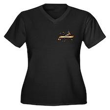 Caving Scroll Women's Plus Size V-Neck Dark T-Shir