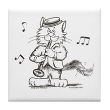 Catoons clarinet cat Tile Coaster
