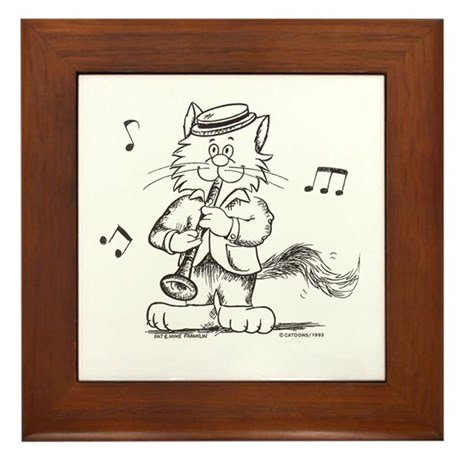 Catoons clarinet cat Framed Tile