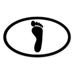 Human Track Footprint Euro Oval Sticker (50 pk)