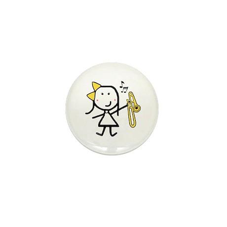 Girl & Trombone Mini Button (100 pack)