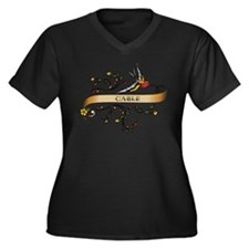 Cable Scroll Women's Plus Size V-Neck Dark T-Shirt