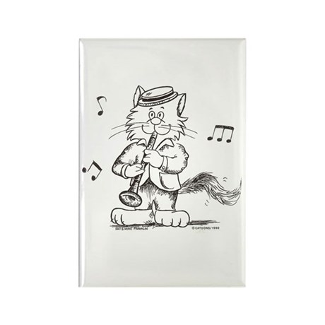 Catoons clarinet cat Rectangle Magnet (10 pack)