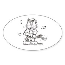 Catoons clarinet cat Oval Decal