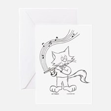 Flute Cat Greeting Card