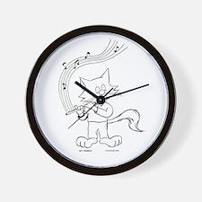 Flute Cat Wall Clock