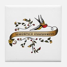 Aerospace Engineering Scroll Tile Coaster