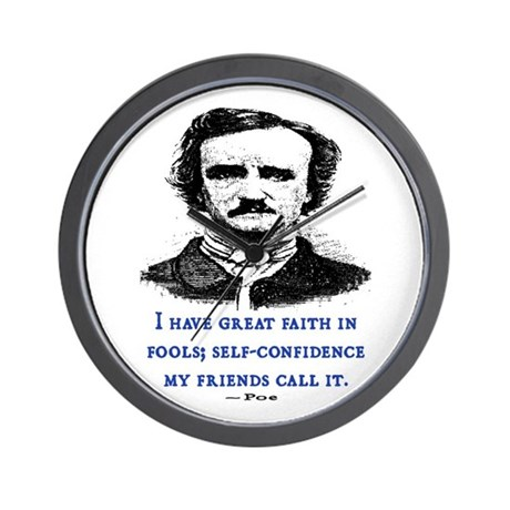 POE FOOL QUOTE Wall Clock