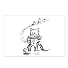 Catoons harmonica cat Postcards (Package of 8)
