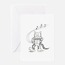 Catoons harmonica cat Greeting Card