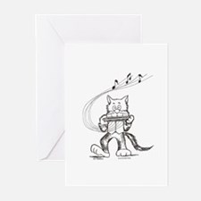Catoons harmonica cat Greeting Cards (Pk of 20)