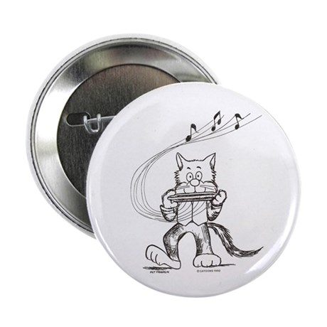 "Catoons harmonica cat 2.25"" Button"