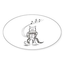 Catoons harmonica cat Oval Decal