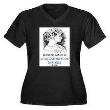 KELLER QUOTE Women's Plus Size V-Neck Dark T-Shirt
