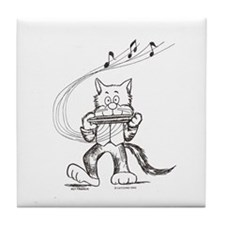 Catoons harmonica cat Tile Coaster