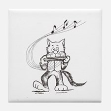 Catoons harmonica cat Tile Coaster
