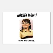 Funny Palin lipstick hockey mom Postcards (Package of 8)