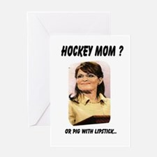 Palin lipstick hockey mom Greeting Card