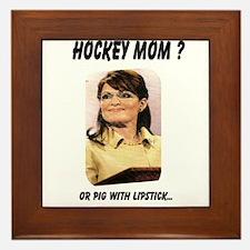 Cute Palin lipstick hockey mom Framed Tile