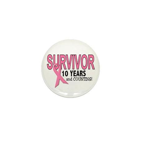 Breast Cancer Survivor 10 Years Mini Button