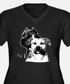two heads pit bull design Women's Plus Size V-Neck
