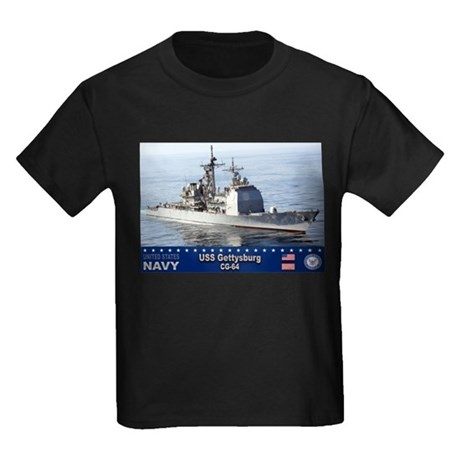 USS Gettysburg CG-64 Kids Dark T-Shirt