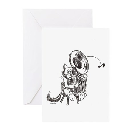 Catoons tuba cat Greeting Cards (Pk of 10)