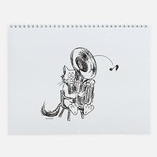 Catoons tuba cat Wall Calendar