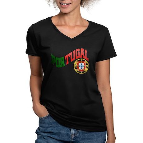 Portugal Wave Women's V-Neck Dark T-Shirt