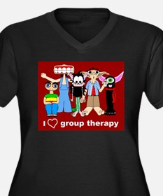 i love group therapy Women's Plus Size V-Neck Dark