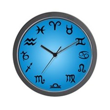 Signs Of The Zodiac - Blue Wall Clock