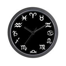 Signs Of The Zodiac - Black Wall Clock