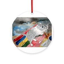 gerbil pet portrait art gift Ornament (Round)