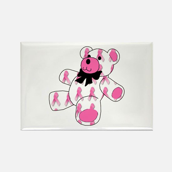 Breast Cancer Ribbon Bear Rectangle Magnet