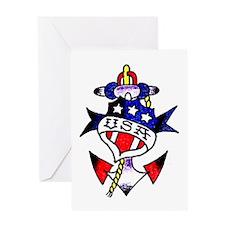 USA Patriotic Anchor Tattoo Greeting Card