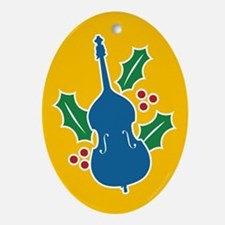 Double Bass Holly Oval Ornament