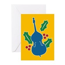 Double Bass Holly Greeting Cards (Pk of 20)