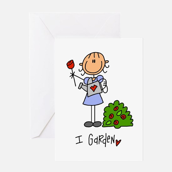 I Garden Stick Figure Greeting Card