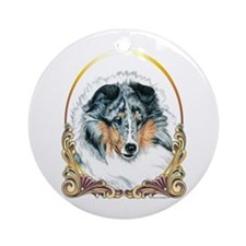 Merle Sheltie Christmas Ornament (Round)