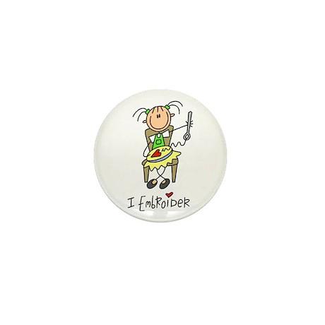 I Embroider Stick Figure Mini Button
