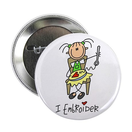 "I Embroider Stick Figure 2.25"" Button"