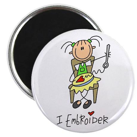 """I Embroider Stick Figure 2.25"""" Magnet (100 pack)"""