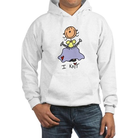 I Knit Stick Figure Hooded Sweatshirt
