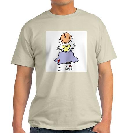 I Knit Stick Figure Light T-Shirt
