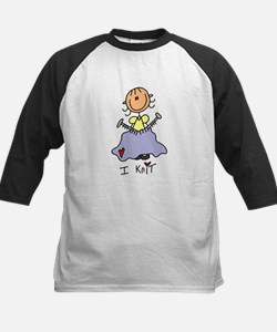 I Knit Stick Figure Kids Baseball Jersey