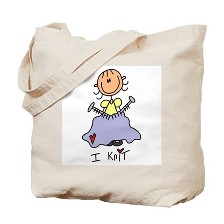 I Knit Stick Figure Tote Bag