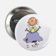 "I Knit Stick Figure 2.25"" Button (10 pack)"